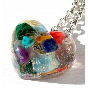 Orgonitové srdce  - šperk harmonizace čaker 2 cm