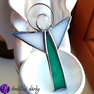 Andílek vitrážový - náhrdelník duchovní léčitel  70x55mm