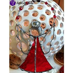 Andělská vitráž Tiffany - strážný anděl rubínový posel - 12 x 9 cm