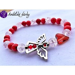 Náramek kuličkový - červený korál s andílkem a srdcem swarovski