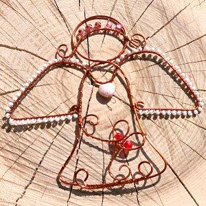 Anděl drátěný - srdečný 10 x 9,5 cm