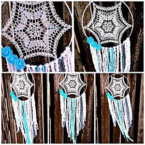 Lapač snů krajkový - modrá pavučinka velký 25 x 75cm