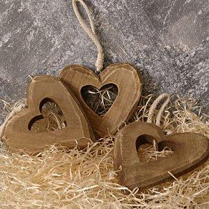 Dřevěné srdce z lásky 10,5x10,5cm