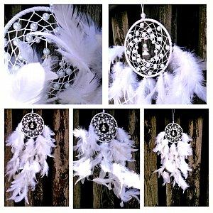 Lapač snů peříčkový - andělská nevinnost 10,5 x 50cm