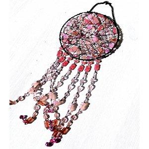 Drátěná slunohra - zvonkohra růžová exploze srdce 12,5x36cm