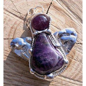 Andílek ametystový - cínovaný náhrdelník magie ženy 45x40mm