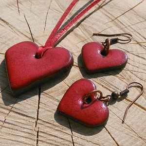 Náhrdelník a náušnice - sada z pálené hlíny letní láska