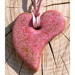 Náhrdelník- srdíčko z pálené hlíny nachová láska
