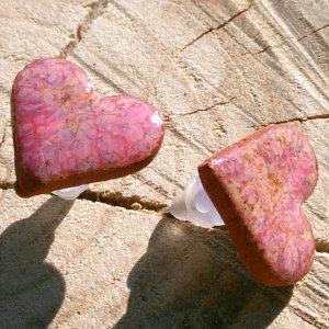 Náušnice z pálené hlíny nachová láska 10mm