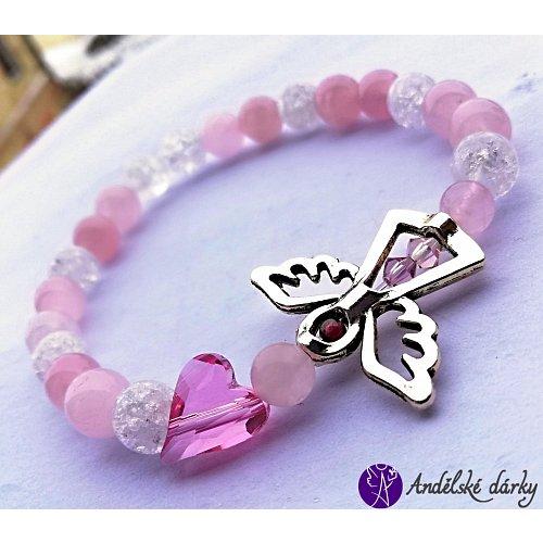 Náramek kuličkový - růženín s andílkem a srdcem swarovski