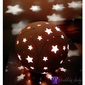Lucerna keramická koule vesmírná hvězda 25cm