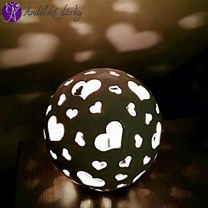 Lucerna keramická koule světlo srdce 20 cm