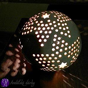 Lucerna keramická koule nebeská hvězda 17 cm
