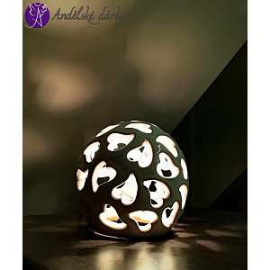 Vánoční lucerna keramická koule - světlo srdce 13cm