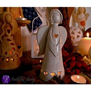 Vánoční svícen anděl - světlo srdce 20cm