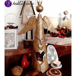 Vánoční svícen anděl s korunkou - kovový 31 cm