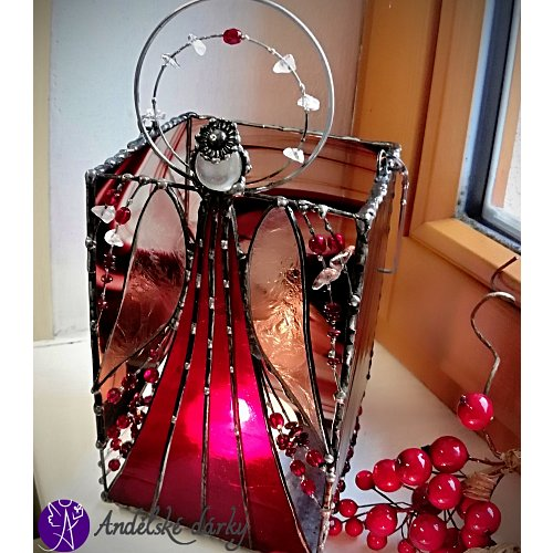 Lucerna Tiffany vitrážová - srdečné paprsky 23 x 10cm