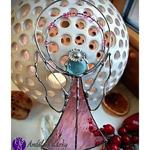 Andělská vitráž Tiffany - strážný anděl růžová něha - 16 x 9 cm