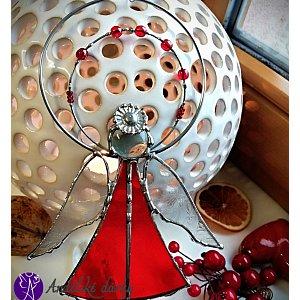 Andělská vitráž Tiffany - strážný anděl rubínový posel - 16x 11cm