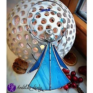 Andělská vitráž Tiffany - strážný anděl iluzionista  17,5 x 9 cm