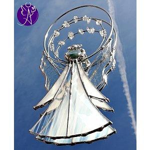 Andělská vitráž Tiffany - strážný anděl bělostný 17,5x9cm