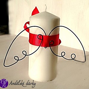 Svíčka andělská s drátěnými křídly 20cm