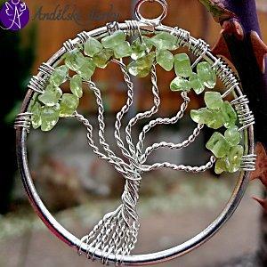 Strom života přívěsek s olivínem 3,5 cm
