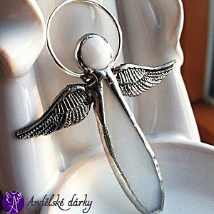 Andílek vitrážový - náhrdelník andělská víra  55x45mm