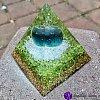 Orgonitová pyramida  velká - Fluorit a Olivín harmonie ducha a těla 6 x 7 cm
