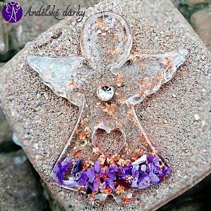 Orgonitový andílek s čaroitem 10 x 8 cm