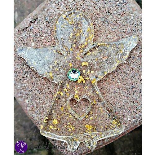 Orgonitový andílek s plátky pravého zlata 10x8cm