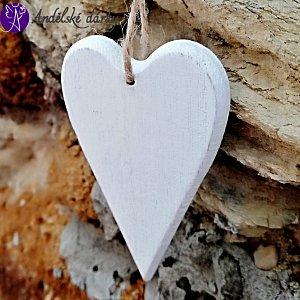 Dřevěné srdíčko bílé 10x5,5cm