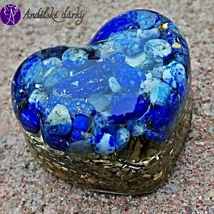 Orgonitové srdíčko lapis lazuli- komunikace 3 cm