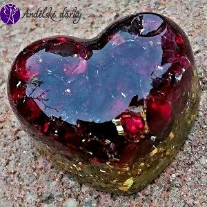Orgonitové srdíčko granátové láska a pokora 3 cm