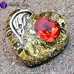 Orgonitové srdíčko andělské křídlo a červený křišťál Preciosa 3 cm