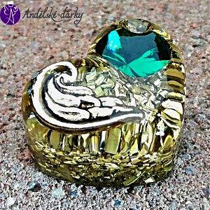 Orgonitové srdíčko andělské křídlo a zelený křišťál Preciosa 3 cm