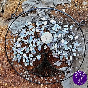 Drátovaný strom života -  křišťálová vážka - transformace  30 cm