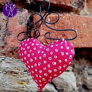 Látkové srdce z lásky červené 9,5 x 15cm