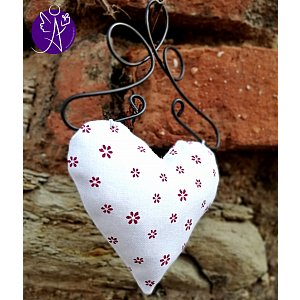 Látkové srdce z lásky bílá kytička 9,5 x 15 cm