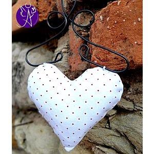 Látkové srdce z lásky červený puntík 9,5 x 15cm