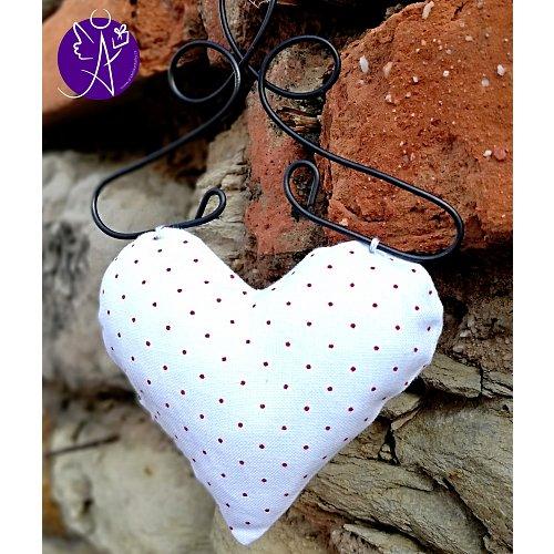 Látkové srdce z lásky červený puntík 9,5 x 15 cm