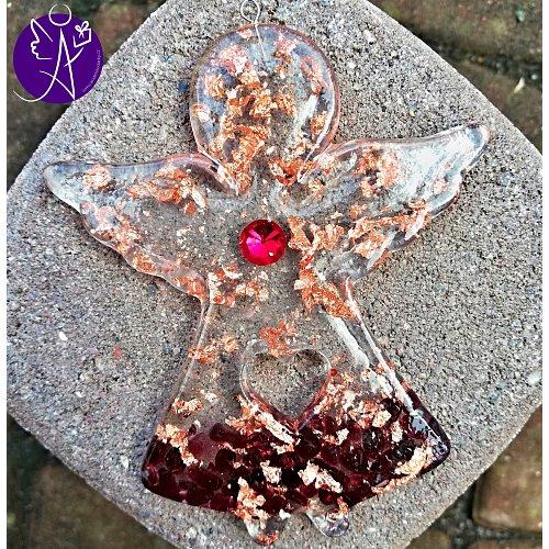 Orgonitový andílek láska a pokora s granátovým srdcem10x8cm