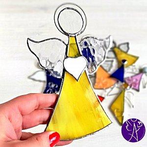 Andělská vitráž - léčivé sluneční paprsky 17x11cm