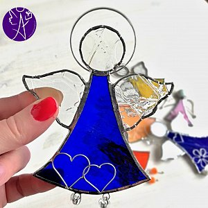 Andělská vitráž - modrý léčitel 16x10,5cm