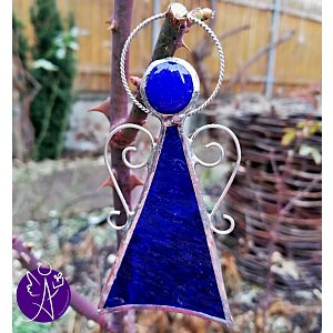 Andělská vitráž - modrý léčitel 9x4cm