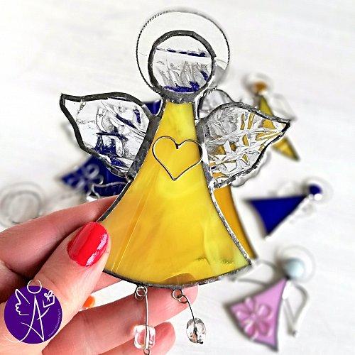 Andělská vitráž - léčivé sluneční paprsky 16x10,5cm