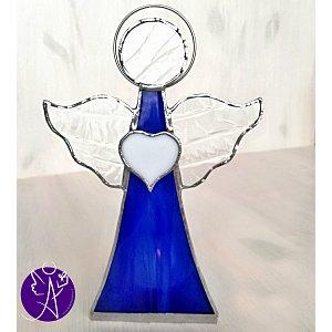 Andělská vitráž/svícen - modrý léčitel 17,5x11,5cm