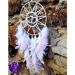 Lapač snů peříčkový - laskavé srdce 20 x 61 cm