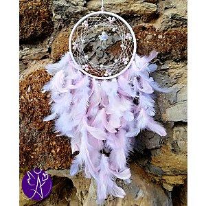 Lapač snů peříčkový - jemnost a laskavost s křišťálem 16 x 66 cm