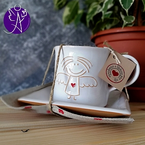 Andělský hrneček s talířkem sada - keramika 250 ml
